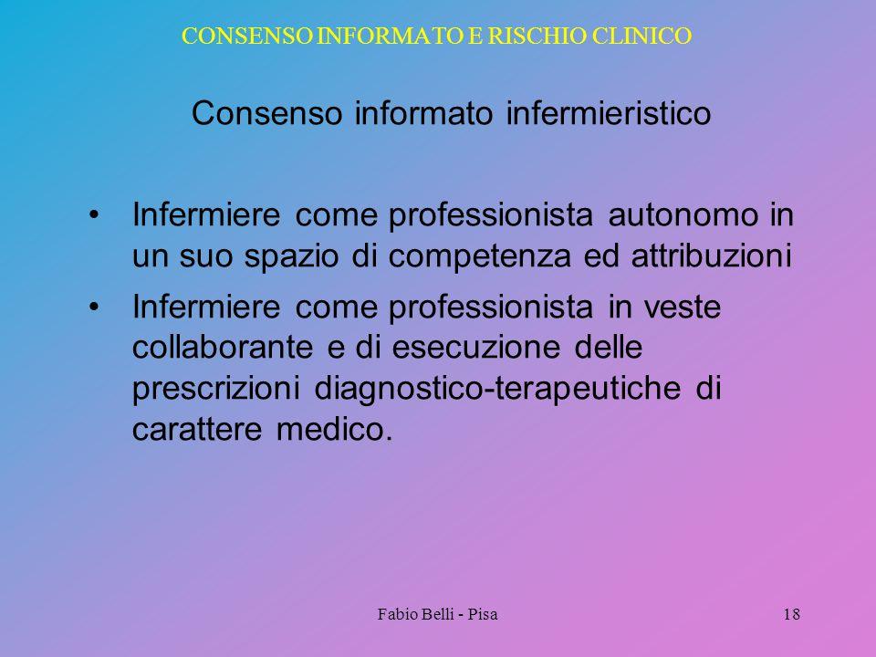 CONSENSO INFORMATO E RISCHIO CLINICO Consenso informato infermieristico Infermiere come professionista autonomo in un suo spazio di competenza ed attr