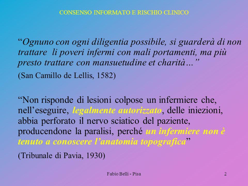 Fabio Belli - Pisa2 CONSENSO INFORMATO E RISCHIO CLINICO Ognuno con ogni diligentia possibile, si guarderà di non trattare li poveri infermi con mali