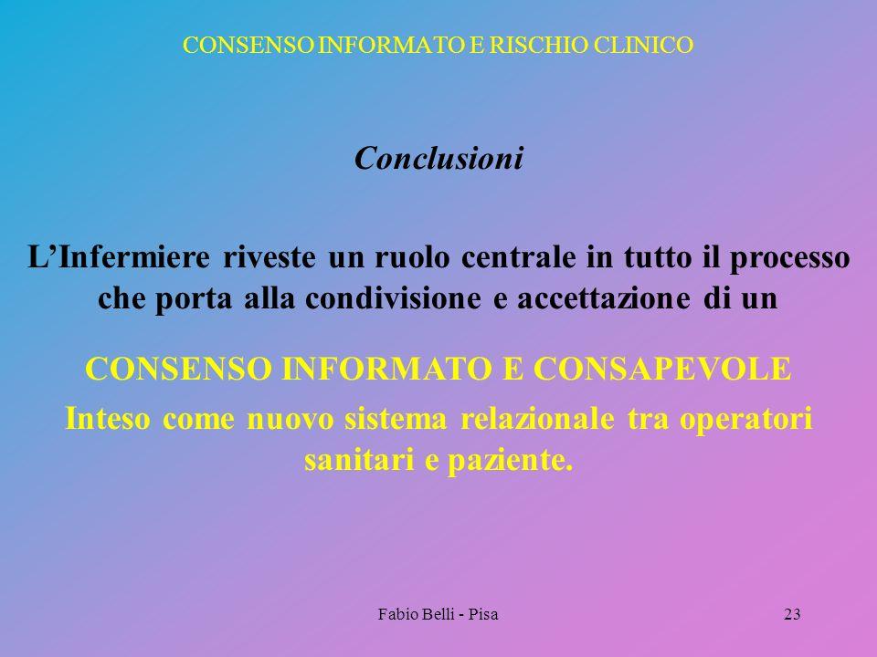 Fabio Belli - Pisa23 CONSENSO INFORMATO E RISCHIO CLINICO Conclusioni LInfermiere riveste un ruolo centrale in tutto il processo che porta alla condiv