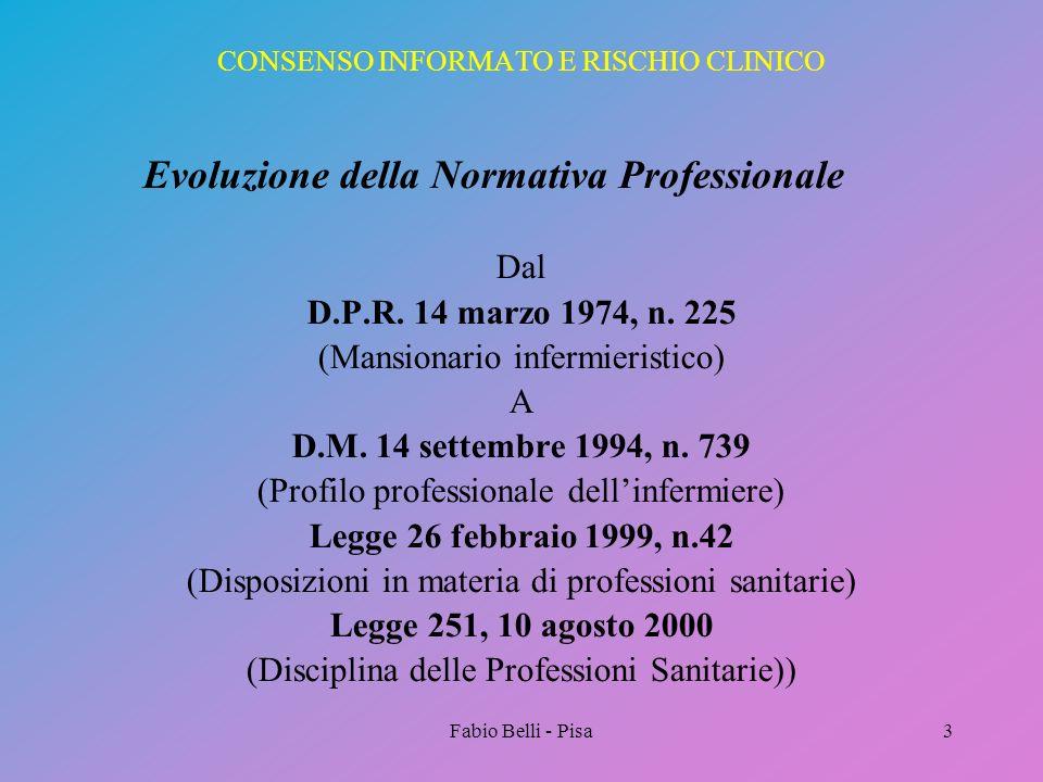 Fabio Belli - Pisa3 CONSENSO INFORMATO E RISCHIO CLINICO Evoluzione della Normativa Professionale Dal D.P.R. 14 marzo 1974, n. 225 (Mansionario inferm