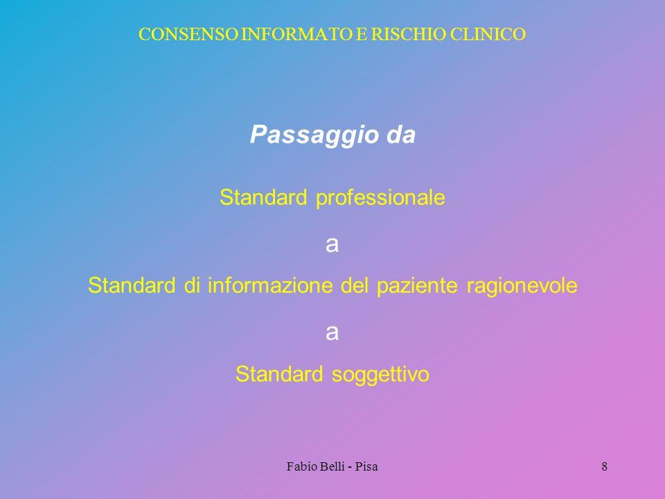 Fabio Belli - Pisa8 CONSENSO INFORMATO E RISCHIO CLINICO Passaggio da Standard professionale a Standard di informazione del paziente ragionevole a Sta