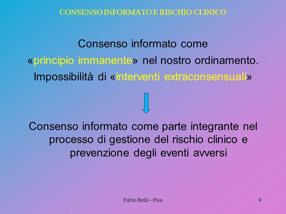 CONSENSO INFORMATO E RISCHIO CLINICO Consenso informato come «principio immanente» nel nostro ordinamento. Impossibilità di «interventi extraconsensua