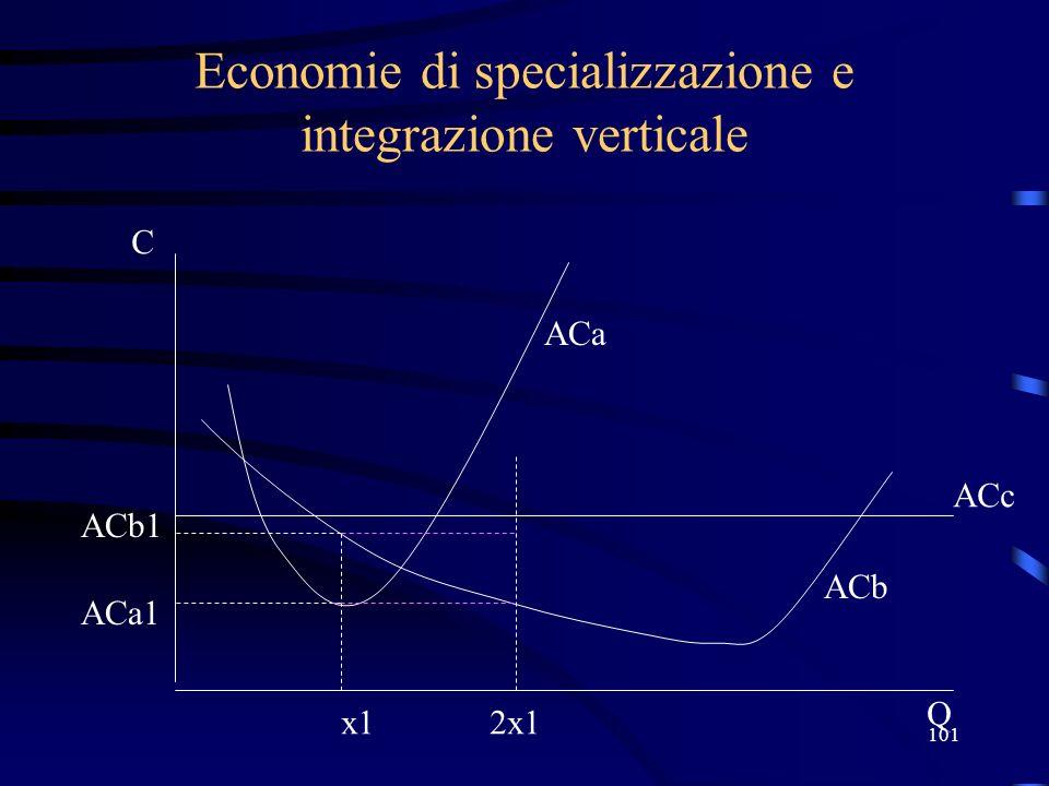 101 Economie di specializzazione e integrazione verticale x1 ACb1 C Q ACa1 ACa ACb ACc 2x1