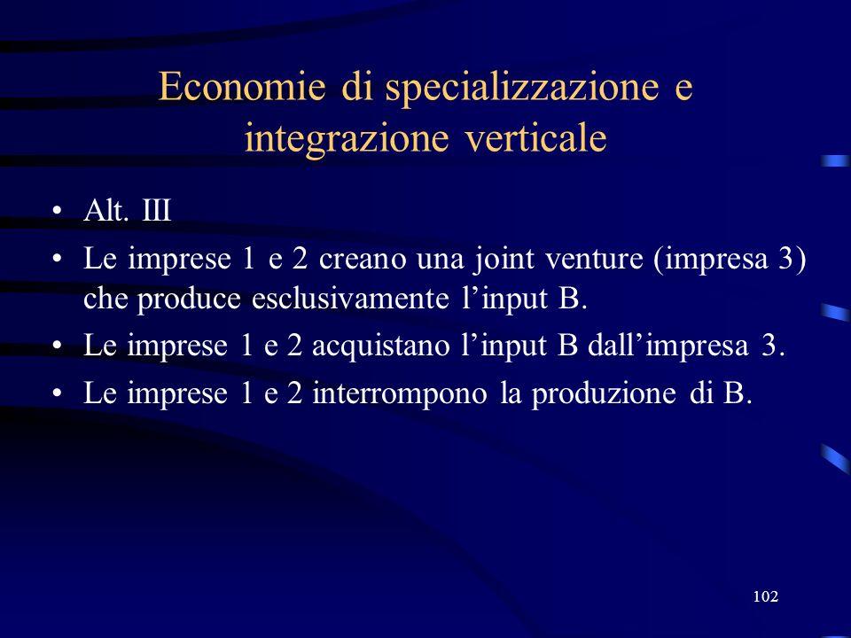 102 Economie di specializzazione e integrazione verticale Alt. III Le imprese 1 e 2 creano una joint venture (impresa 3) che produce esclusivamente li