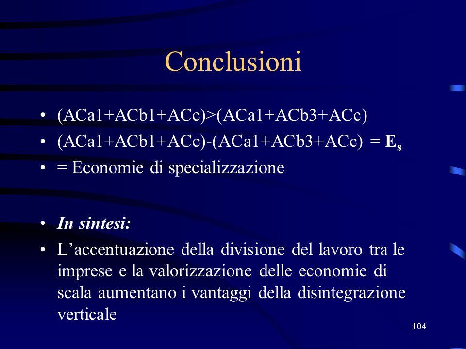 104 Conclusioni (ACa1+ACb1+ACc)>(ACa1+ACb3+ACc) (ACa1+ACb1+ACc)-(ACa1+ACb3+ACc) = E s = Economie di specializzazione In sintesi: Laccentuazione della