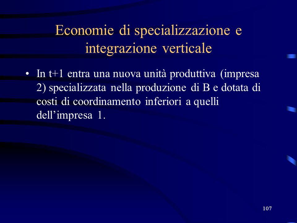 107 Economie di specializzazione e integrazione verticale In t+1 entra una nuova unità produttiva (impresa 2) specializzata nella produzione di B e do