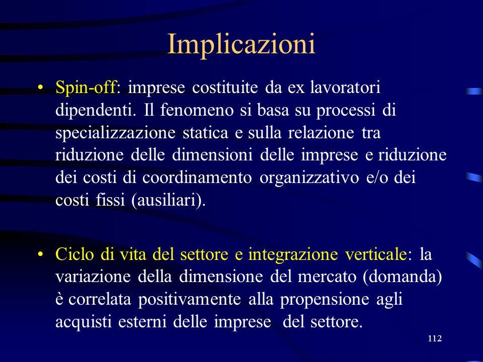 112 Implicazioni Spin-off: imprese costituite da ex lavoratori dipendenti. Il fenomeno si basa su processi di specializzazione statica e sulla relazio