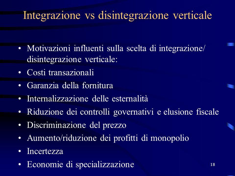 18 Integrazione vs disintegrazione verticale Motivazioni influenti sulla scelta di integrazione/ disintegrazione verticale: Costi transazionali Garanz