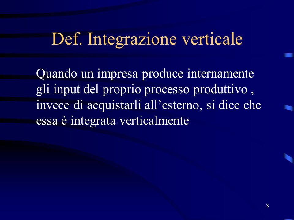 3 Def. Integrazione verticale Quando un impresa produce internamente gli input del proprio processo produttivo, invece di acquistarli allesterno, si d