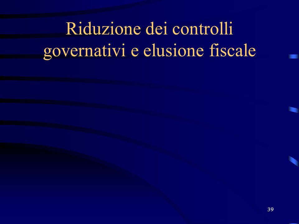 39 Riduzione dei controlli governativi e elusione fiscale