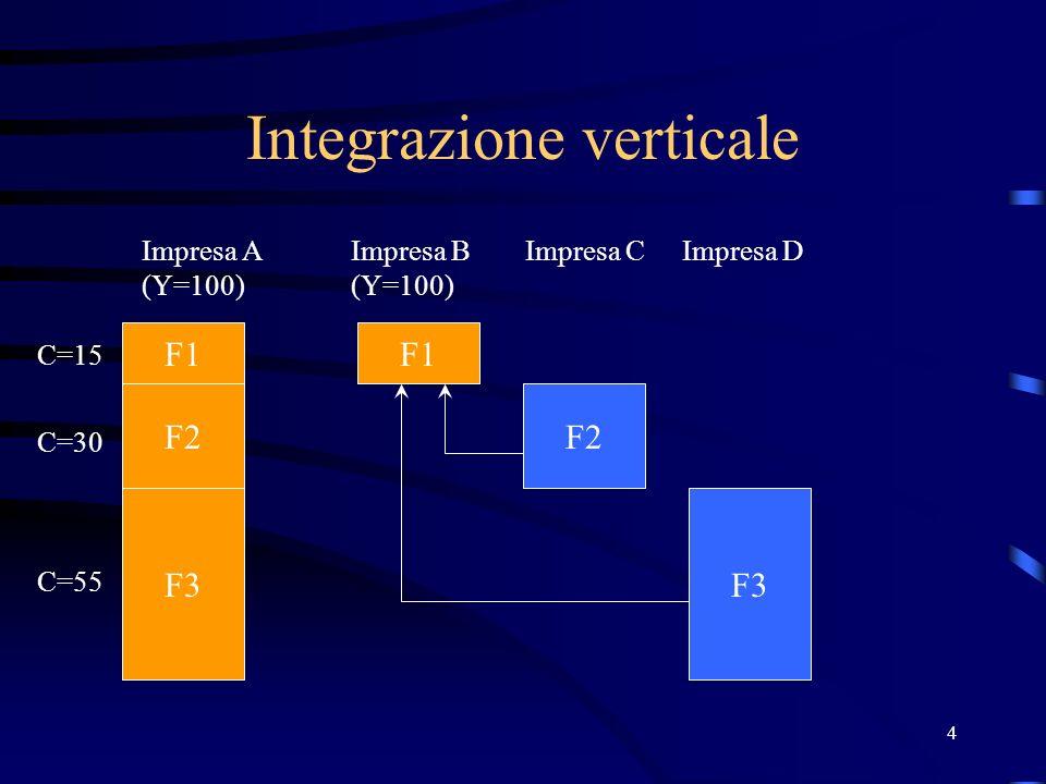 4 Integrazione verticale F1 F2 F3 F2 F1 F3 Impresa A (Y=100) Impresa CImpresa DImpresa B (Y=100) C=15 C=30 C=55