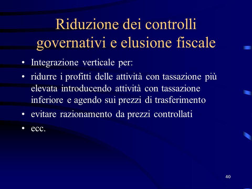 40 Riduzione dei controlli governativi e elusione fiscale Integrazione verticale per: ridurre i profitti delle attività con tassazione più elevata int