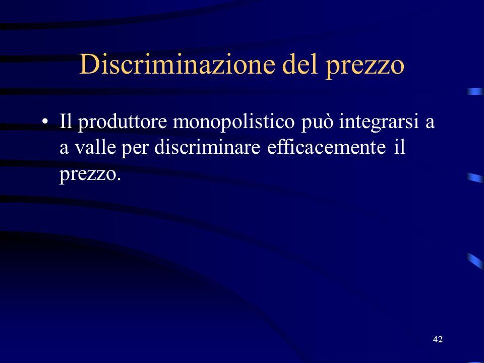 42 Discriminazione del prezzo Il produttore monopolistico può integrarsi a a valle per discriminare efficacemente il prezzo.