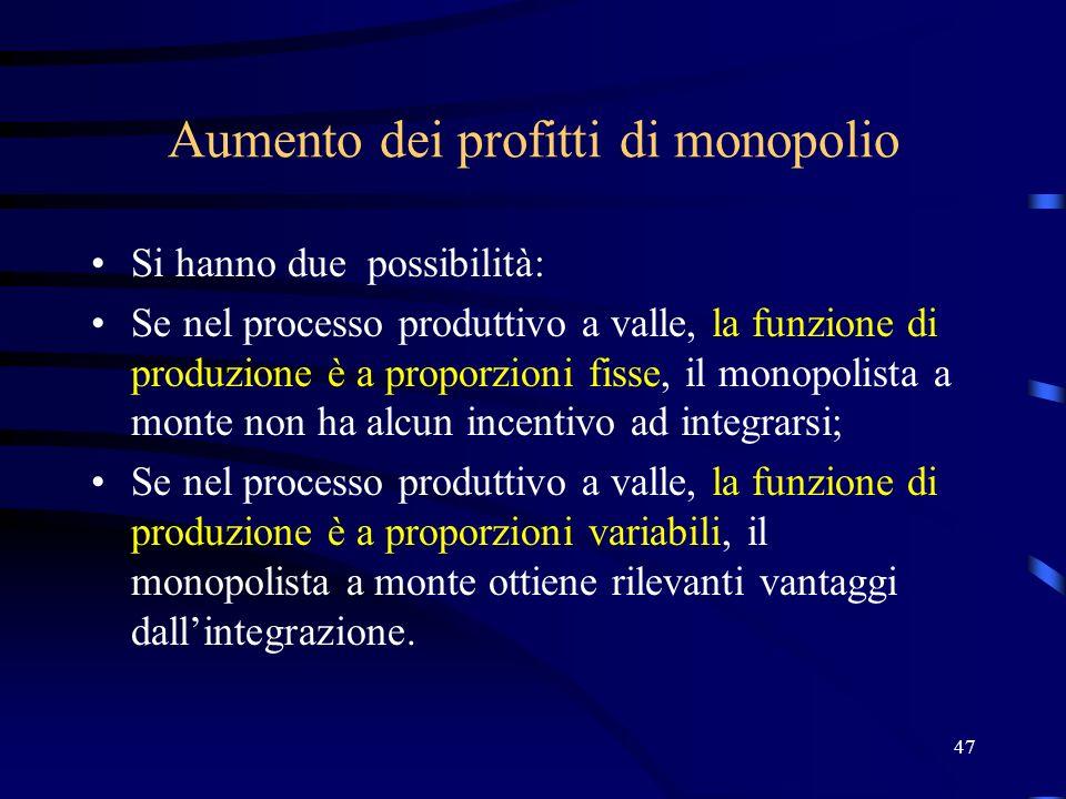 47 Aumento dei profitti di monopolio Si hanno due possibilità: Se nel processo produttivo a valle, la funzione di produzione è a proporzioni fisse, il