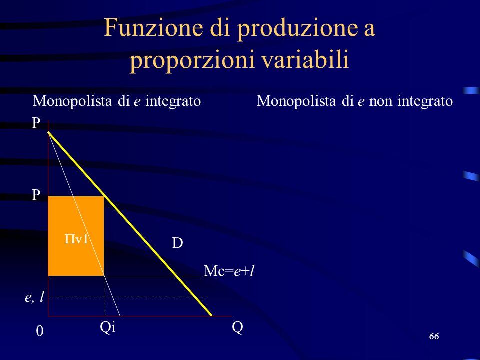 66 Funzione di produzione a proporzioni variabili Monopolista di e integratoMonopolista di e non integrato Mc=e+l e, l 0 Q P D Qi P v1