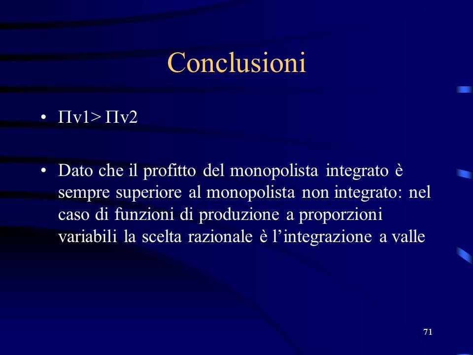 71 Conclusioni v1> v2 Dato che il profitto del monopolista integrato è sempre superiore al monopolista non integrato: nel caso di funzioni di produzio