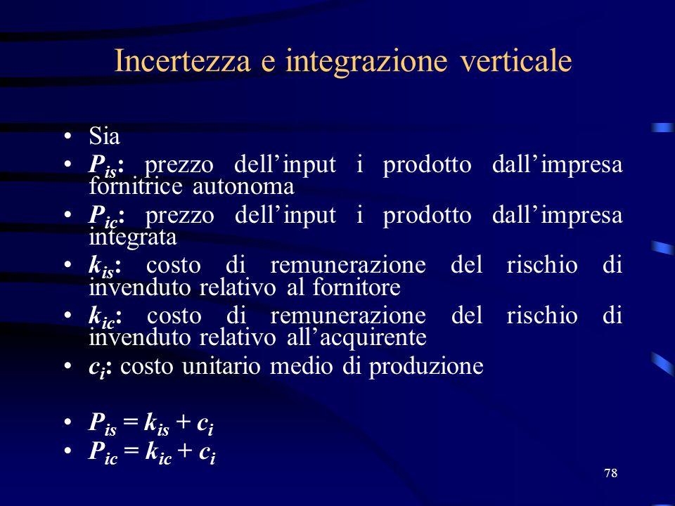 78 Incertezza e integrazione verticale Sia P is : prezzo dellinput i prodotto dallimpresa fornitrice autonoma P ic : prezzo dellinput i prodotto dalli