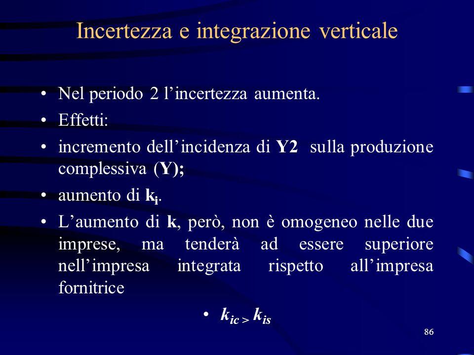86 Incertezza e integrazione verticale Nel periodo 2 lincertezza aumenta. Effetti: incremento dellincidenza di Y2 sulla produzione complessiva (Y); au