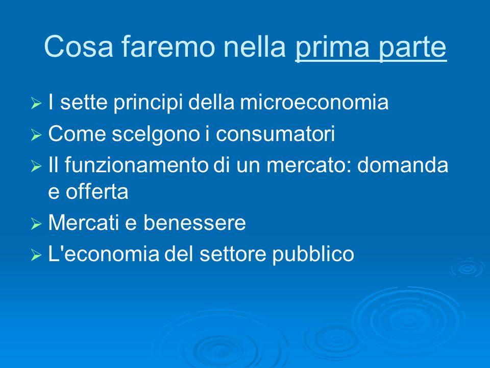 Cosa faremo nella prima parte I sette principi della microeconomia Come scelgono i consumatori Il funzionamento di un mercato: domanda e offerta Merca