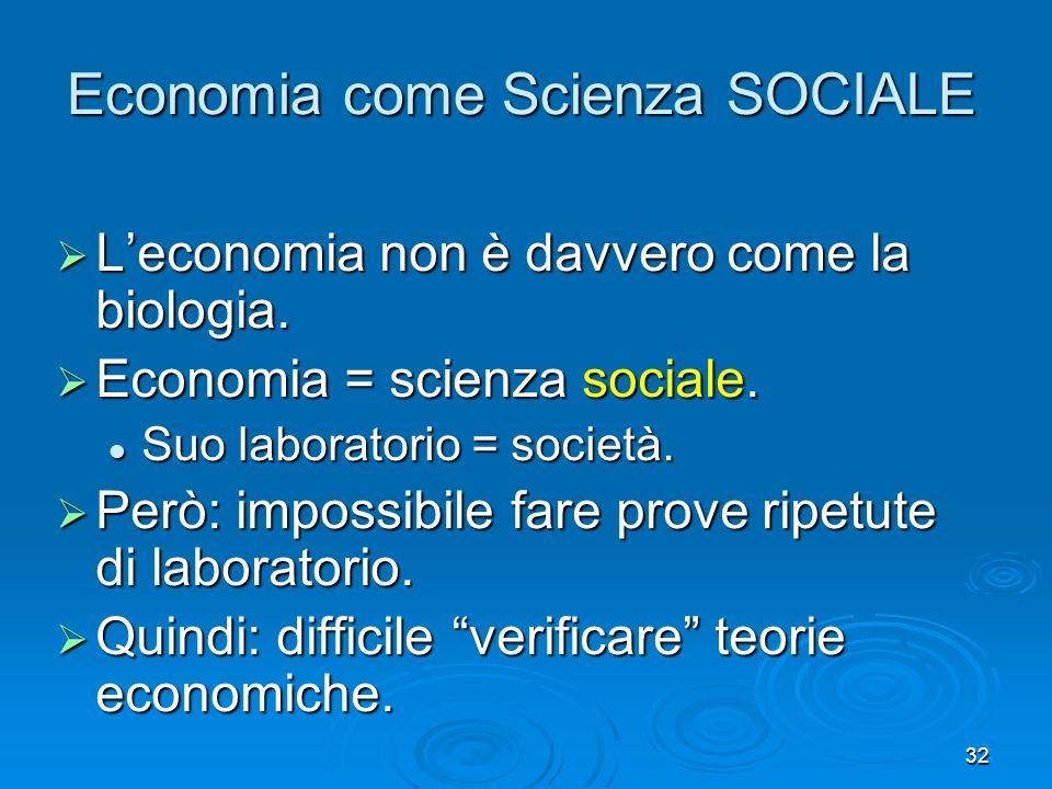 32 Economia come Scienza SOCIALE Leconomia non è davvero come la biologia. Leconomia non è davvero come la biologia. Economia = scienza sociale. Econo