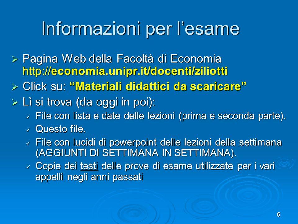 6 Informazioni per lesame Pagina Web della Facoltà di Economia http://economia.unipr.it/docenti/ziliotti Pagina Web della Facoltà di Economia http://e