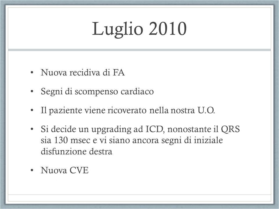 Luglio 2010 Nuova recidiva di FA Segni di scompenso cardiaco Il paziente viene ricoverato nella nostra U.O. Si decide un upgrading ad ICD, nonostante