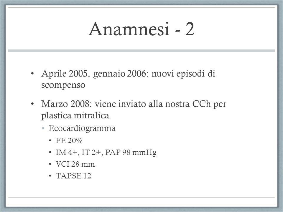 Anamnesi - 2 Aprile 2005, gennaio 2006: nuovi episodi di scompenso Marzo 2008: viene inviato alla nostra CCh per plastica mitralica Ecocardiogramma FE