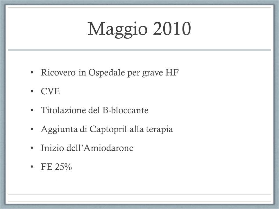 Maggio 2010 Ricovero in Ospedale per grave HF CVE Titolazione del B-bloccante Aggiunta di Captopril alla terapia Inizio dellAmiodarone FE 25%
