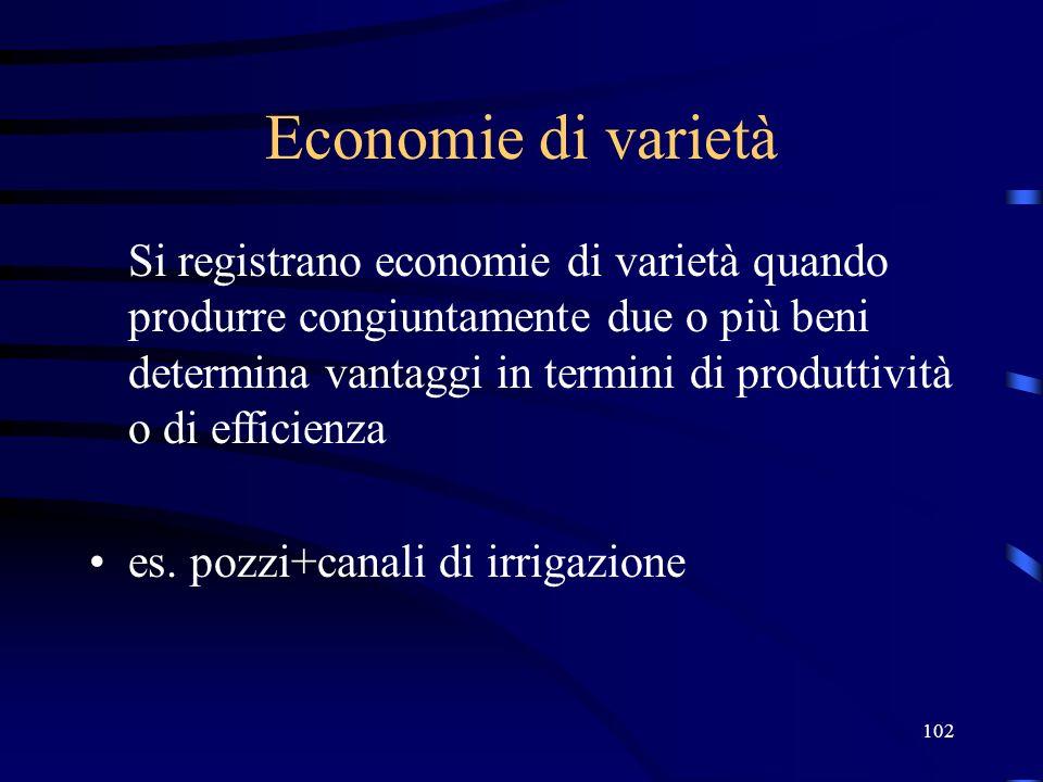 102 Economie di varietà Si registrano economie di varietà quando produrre congiuntamente due o più beni determina vantaggi in termini di produttività