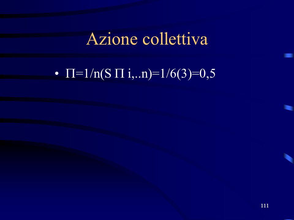 111 Azione collettiva =1/n(S i,..n)=1/6(3)=0,5