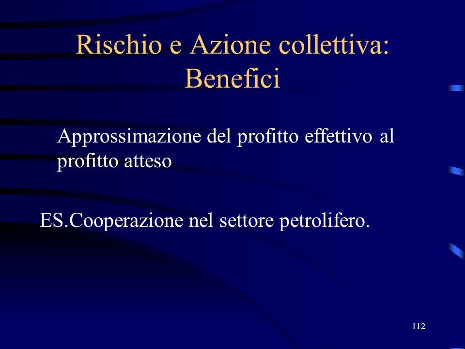 112 Rischio e Azione collettiva: Benefici Approssimazione del profitto effettivo al profitto atteso ES.Cooperazione nel settore petrolifero.