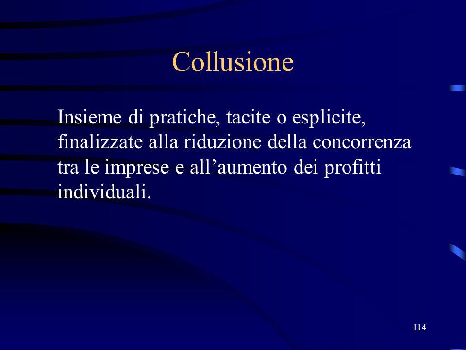 114 Collusione Insieme di pratiche, tacite o esplicite, finalizzate alla riduzione della concorrenza tra le imprese e allaumento dei profitti individu