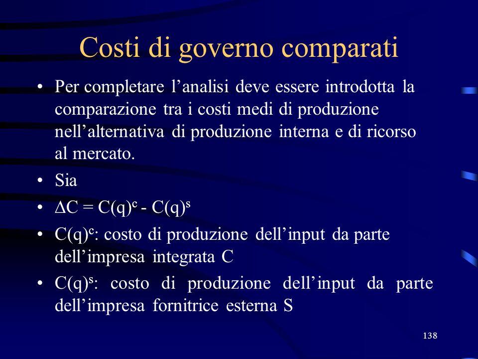 138 Costi di governo comparati Per completare lanalisi deve essere introdotta la comparazione tra i costi medi di produzione nellalternativa di produz