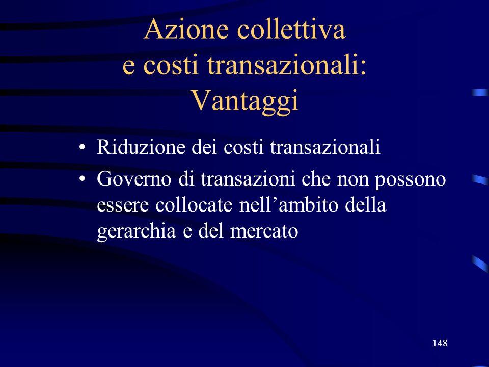 148 Azione collettiva e costi transazionali: Vantaggi Riduzione dei costi transazionali Governo di transazioni che non possono essere collocate nellam