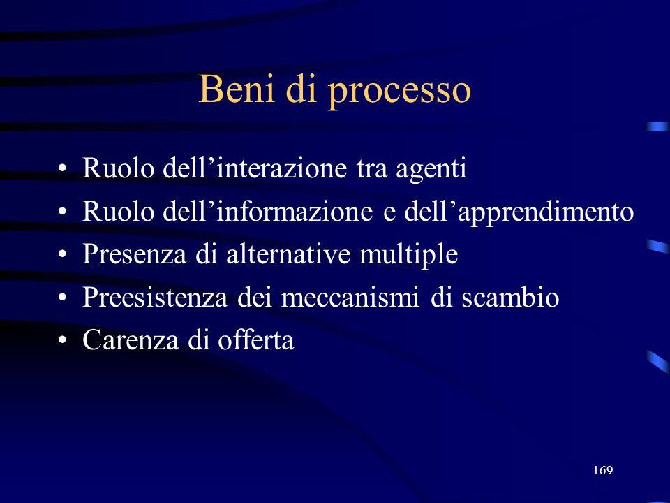 169 Beni di processo Ruolo dellinterazione tra agenti Ruolo dellinformazione e dellapprendimento Presenza di alternative multiple Preesistenza dei mec
