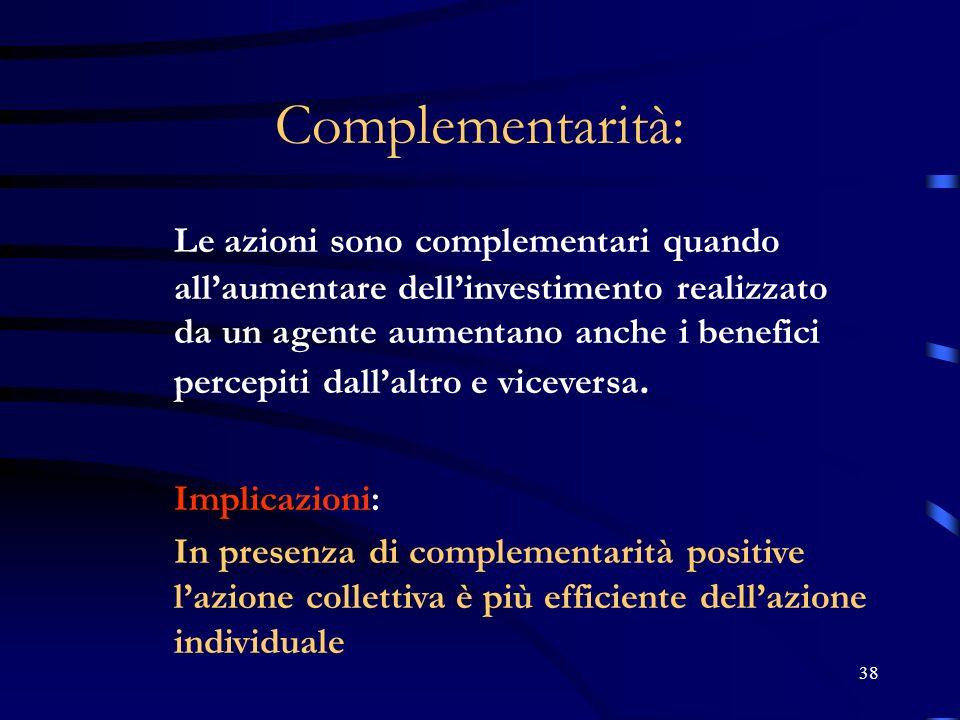 38 Complementarità: Le azioni sono complementari quando allaumentare dellinvestimento realizzato da un agente aumentano anche i benefici percepiti dal