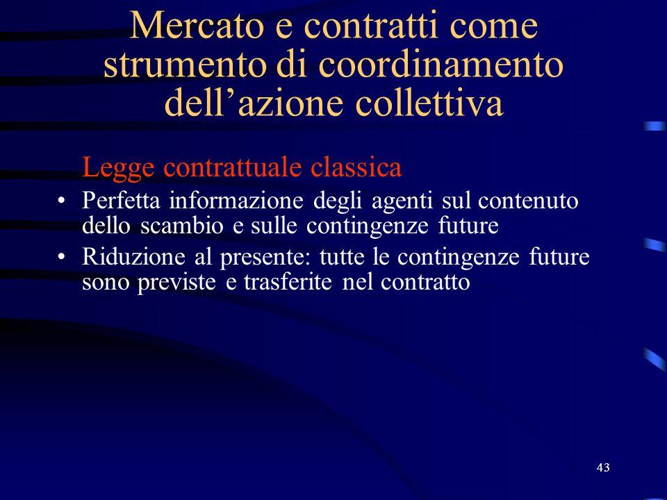 43 Mercato e contratti come strumento di coordinamento dellazione collettiva Legge contrattuale classica Perfetta informazione degli agenti sul conten