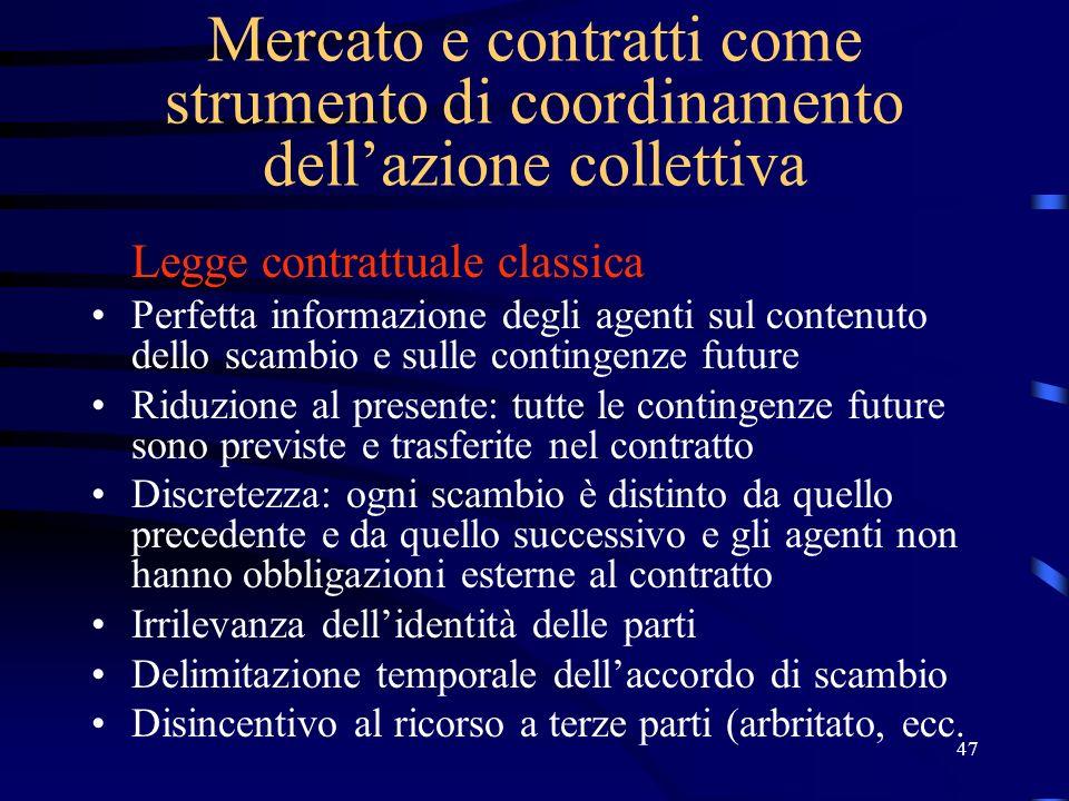 47 Mercato e contratti come strumento di coordinamento dellazione collettiva Legge contrattuale classica Perfetta informazione degli agenti sul conten
