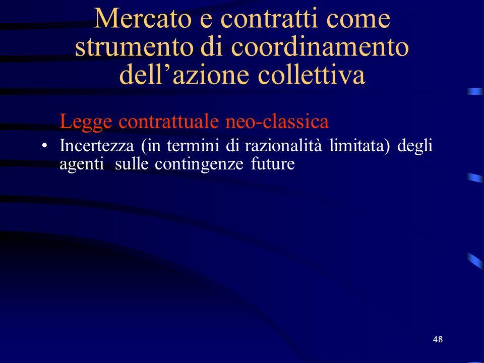 48 Mercato e contratti come strumento di coordinamento dellazione collettiva Legge contrattuale neo-classica Incertezza (in termini di razionalità lim