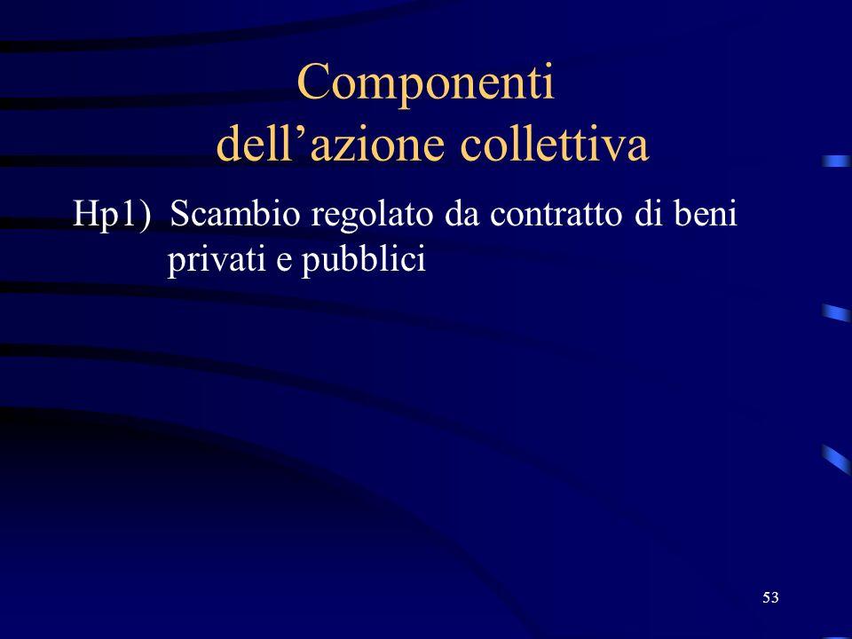 53 Componenti dellazione collettiva Hp1) Scambio regolato da contratto di beni privati e pubblici