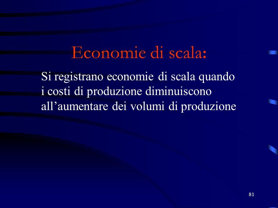 81 Economie di scala : Si registrano economie di scala quando i costi di produzione diminuiscono allaumentare dei volumi di produzione