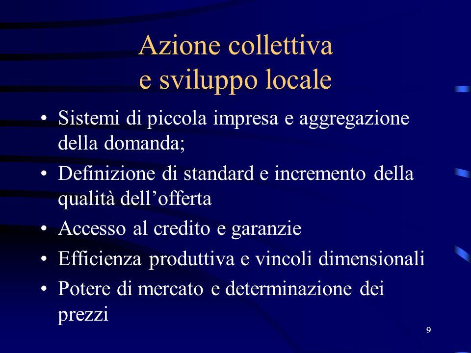 9 Azione collettiva e sviluppo locale Sistemi di piccola impresa e aggregazione della domanda; Definizione di standard e incremento della qualità dell