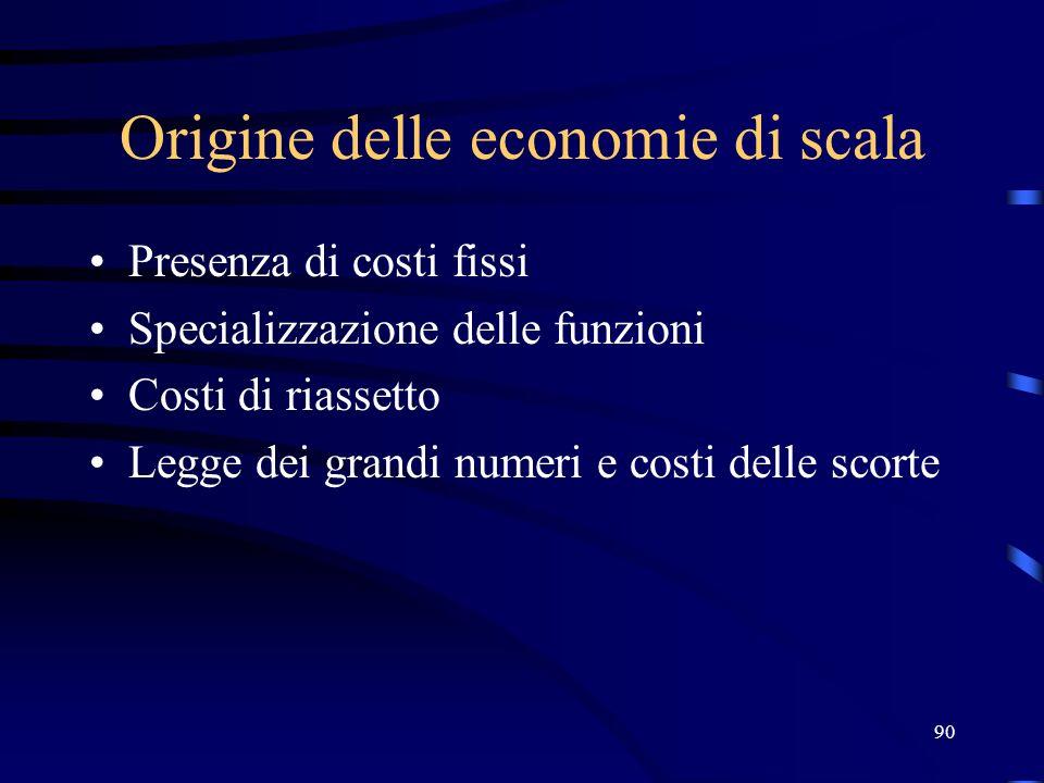 90 Origine delle economie di scala Presenza di costi fissi Specializzazione delle funzioni Costi di riassetto Legge dei grandi numeri e costi delle sc