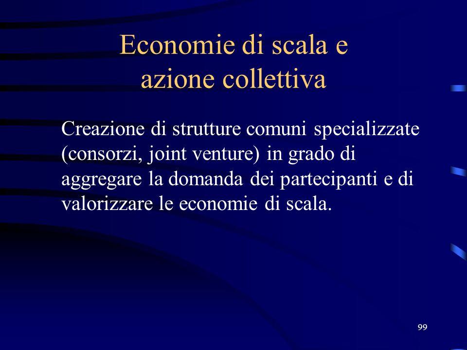 99 Economie di scala e azione collettiva Creazione di strutture comuni specializzate (consorzi, joint venture) in grado di aggregare la domanda dei pa