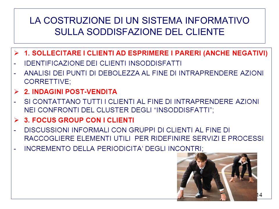 14 LA COSTRUZIONE DI UN SISTEMA INFORMATIVO SULLA SODDISFAZIONE DEL CLIENTE 1.