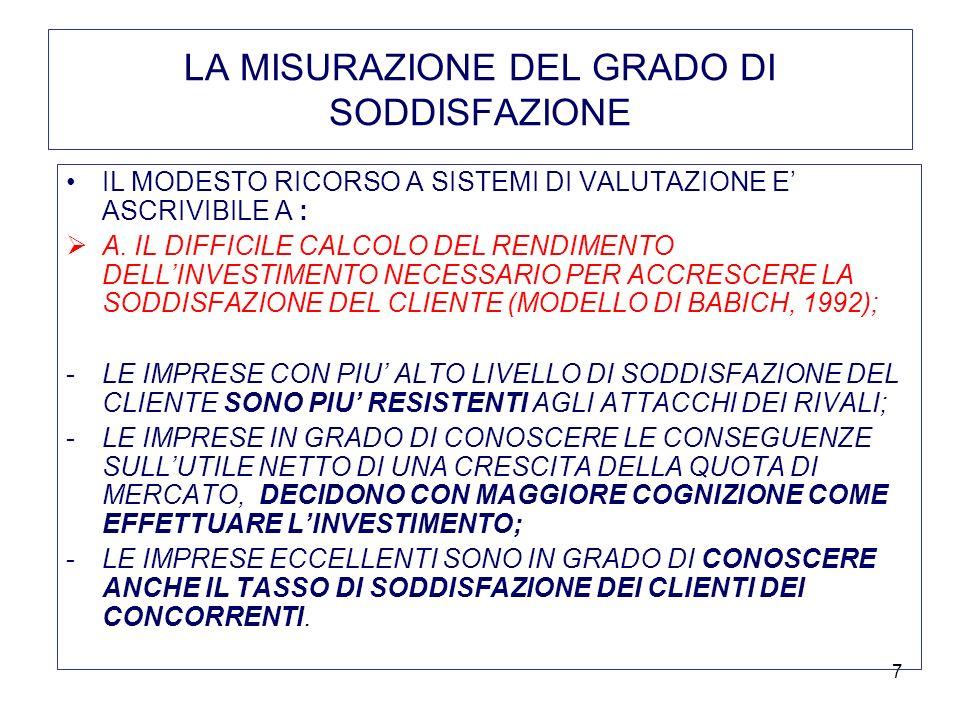 7 LA MISURAZIONE DEL GRADO DI SODDISFAZIONE IL MODESTO RICORSO A SISTEMI DI VALUTAZIONE E ASCRIVIBILE A : A. IL DIFFICILE CALCOLO DEL RENDIMENTO DELLI