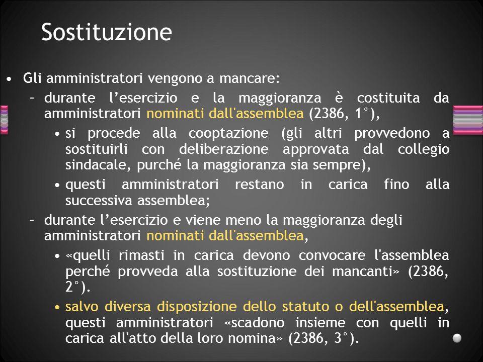 Sostituzione Gli amministratori vengono a mancare: –durante lesercizio e la maggioranza è costituita da amministratori nominati dall'assemblea (2386,