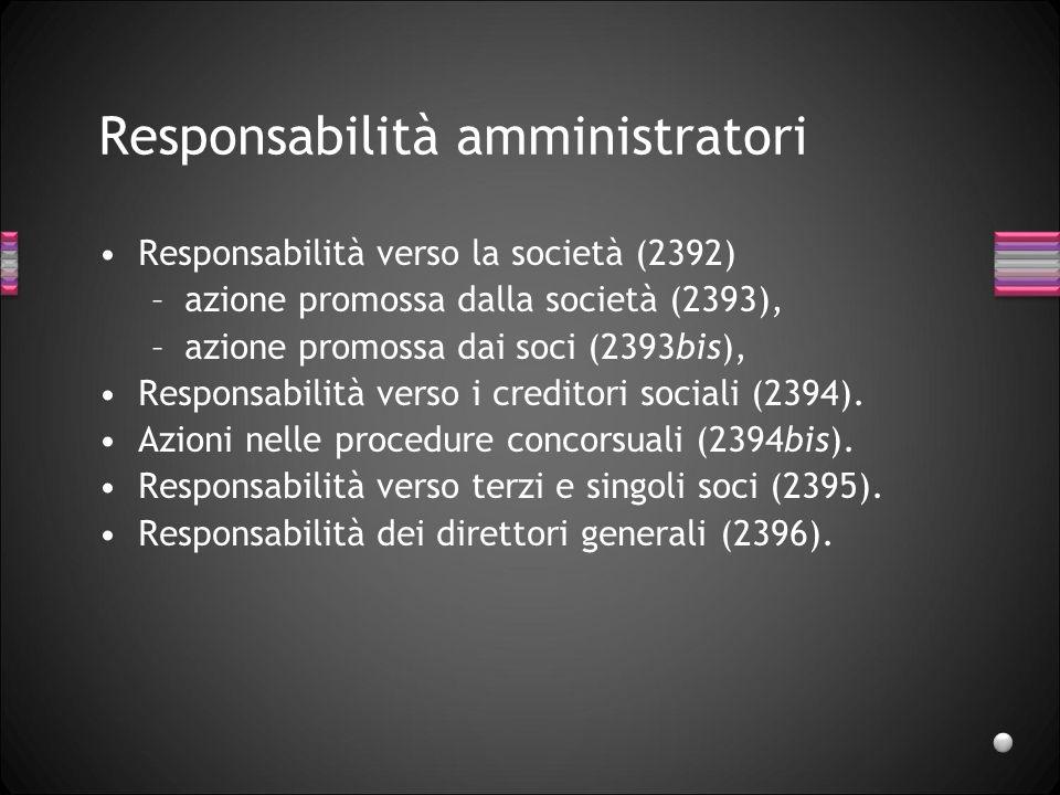 Responsabilità amministratori Responsabilità verso la società (2392) –azione promossa dalla società (2393), –azione promossa dai soci (2393bis), Respo