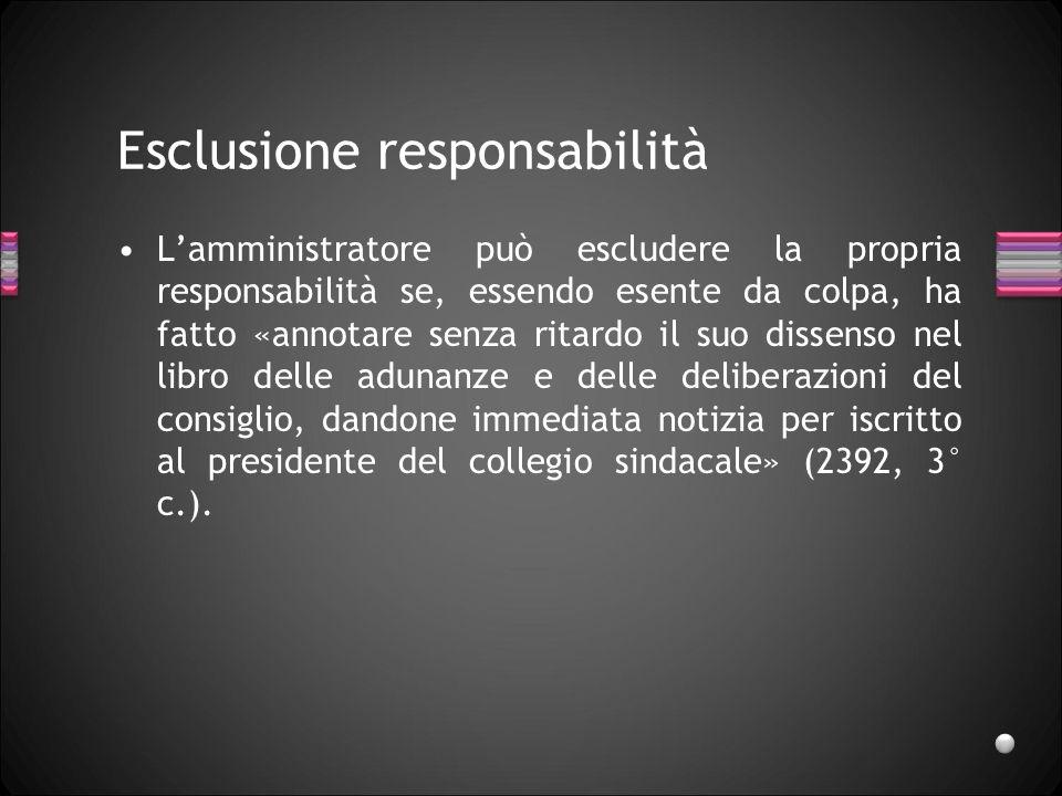 Esclusione responsabilità Lamministratore può escludere la propria responsabilità se, essendo esente da colpa, ha fatto «annotare senza ritardo il suo