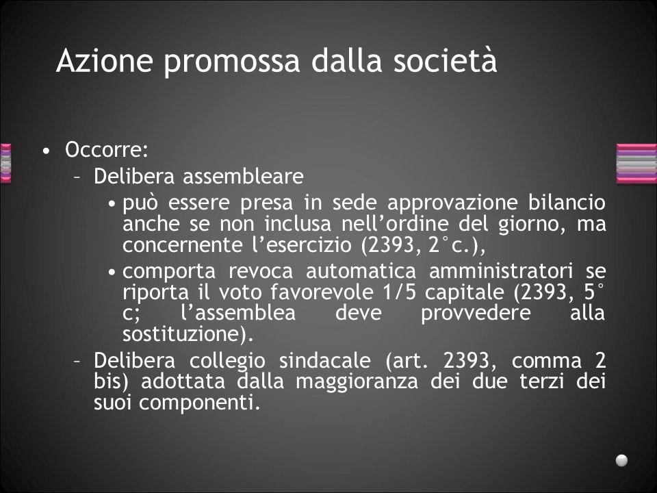 Azione promossa dalla società Occorre: –Delibera assembleare può essere presa in sede approvazione bilancio anche se non inclusa nellordine del giorno